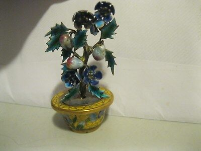 Japanese Mini Cloisonne Jar w/ Gold Wire with Japanese Pear Tree