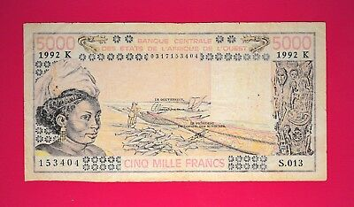 5000 Francs West Africa - Senegal Beautiful Old Banknote
