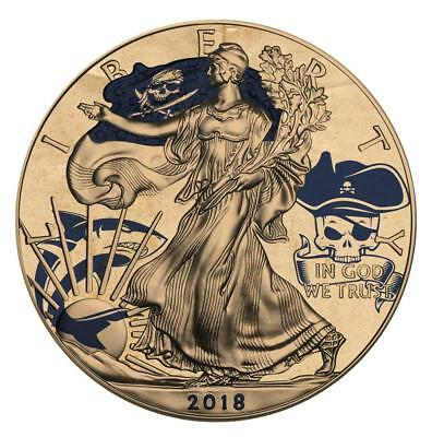 USA 2018 1$ Silver Eagle Tattoo Pirates o.t. Carribean 1 Oz Silver Coin PRE-SALE