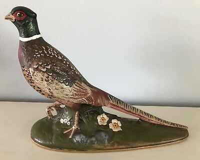 """Holland Mold Ring-Neck Pheasant Figurine Vintage Hand Painted 11 x 13.5"""""""