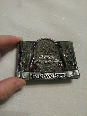 Vintage Budweiser Clydesdale Pewter and Enamel Belt Buckle Made In USA