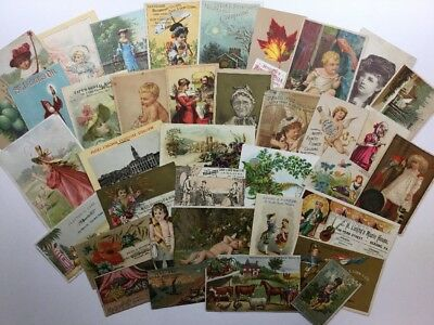 Lot of 35 Vintage Victorian Antique Advertising Trade Cards ~ Scrap Craft