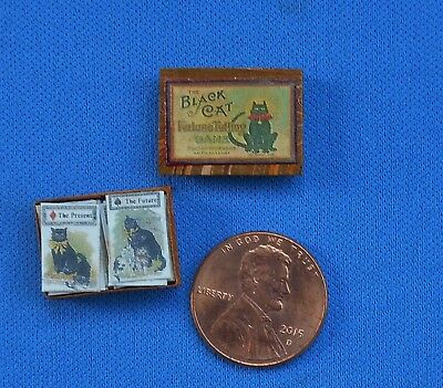 Dollhouse miniature Black Cat fortune telling Game Halloween 24 cards 1:12 scale