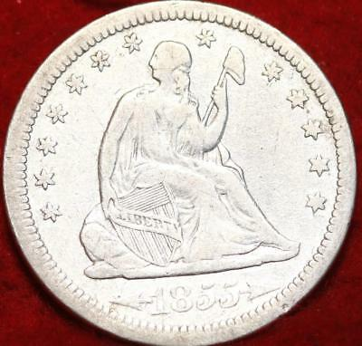 1855 Philadelphia Mint Silver Seated Liberty Quarter with Arrow