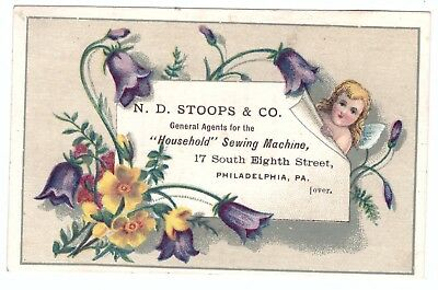N D Stoops Household Sewing Machine Philadelphia Pa VTC Victorian Trade Card f