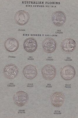 Australian Florin set 1910-1963 complete with 1932 and Centenary Florins