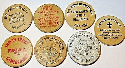 Lot 7 Wooden Nickels Ad Tokens - Assorted States WV, UT, MD, MI, WI, NY -Vintage