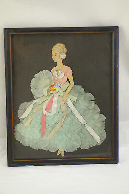 """Antique Vintage Framed Paper Doll Art Picture Lady in Ribbon Blue Dress 11""""x9"""""""
