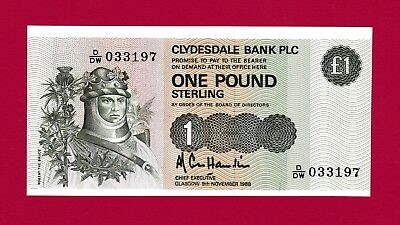 SCARCE UNCIRCULATED One Pound Sterling 1988 Clydesdale Bank PLC - Beautiful Note