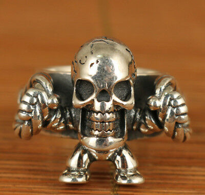 Antique limited edition 2003 Fine 925 Silver Hand Carving skull Cool Ring Rare