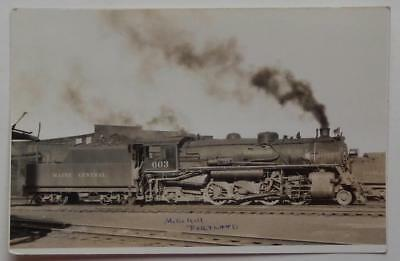 Railroad RPPC Postcard Maine Central R&R Engine Steam Train #603 Portland ME