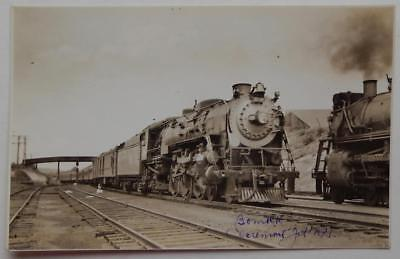 Railroad RPPC Postcard Boston & Maine Engine #3718? Steam Train Claremont Jct NH
