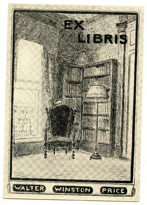 Early 1900s Engraved Bookplate Ex Libris Walter Winston Price Library Bookshelf