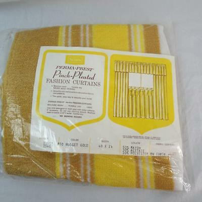 Pinch Pleat Curtain Drapes SEARS Nub TEXTURE Gold NEW 48x24 Vintage Retro 70