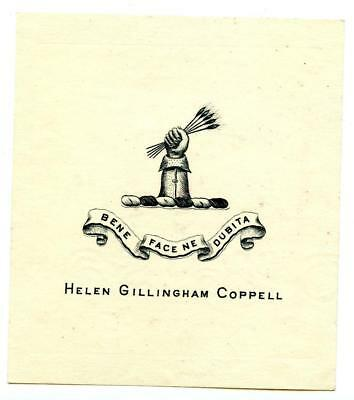 Early 1900s Engraved Bookplate Ex Libris Helen Gillingham Coppell Crest