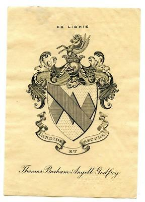 Early 1900s Engraved Bookplate Ex Libris Thomas Barham Angell Godfrey Crest