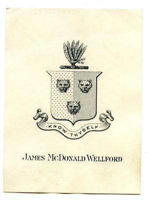 Early 1900s Engraved Bookplate Ex Libris James McDonald Wellford Know Thyself