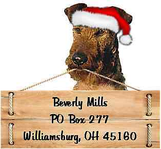 Irish Terrier Christmas return address labels DIE CUT TO SHAPE