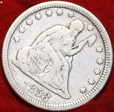 1858 Philadelphia Mint Silver Seated Liberty Quarter
