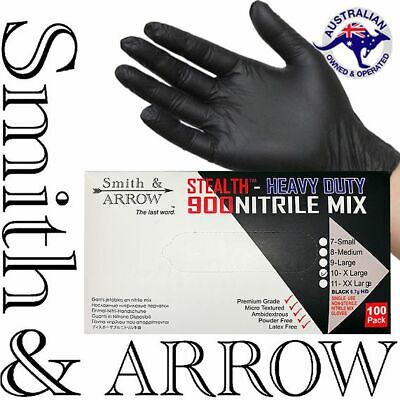 100 x INDUSTRIAL BLACK DISPOSABLE NITRILE GLOVES THICK RUBBER MEDICAL PROTECTION