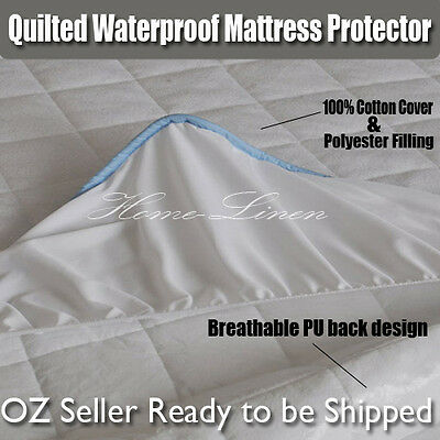 100% Cotton Cover Quilted Waterproof Mattress Protector/Underlay-All Size