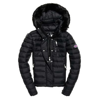 Superdry Fuji Slim Double Ziphood Black , Abrigos y parkas Superdry , moda