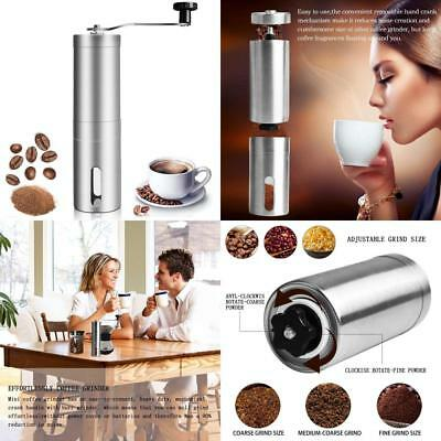 Manual Coffee Grinder Conical Burr Mill Brushed Stainless Steel Bean Powder