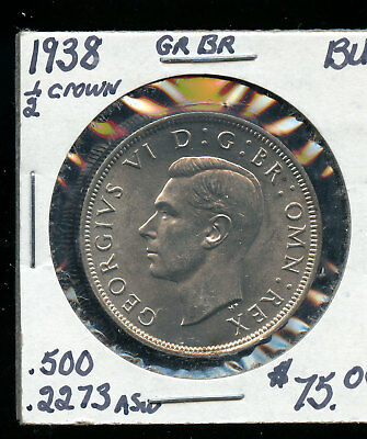 1938 Great Britain 1/2 Crown BU E909