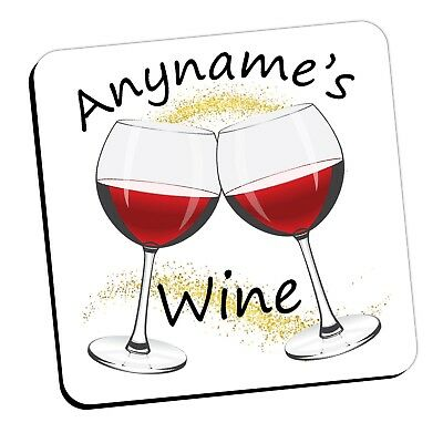 Personalised Birthday Christmas Drinks Coaster gift for her ANY NAME WINE N27