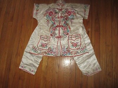 Vintage Embroidered Chinese Silk Pajamas Sz 38 By Plum Blossom Unworn
