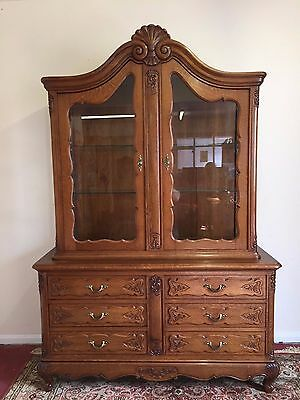Outstanding Quality French Carved Oak Display Cabinet