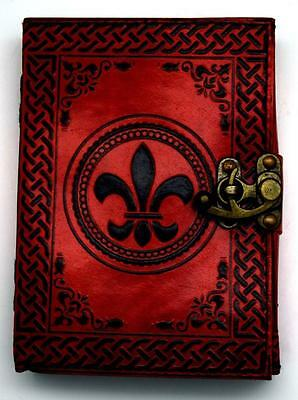 "5""x7"" FLEUR DE LIS Leather Book of Shadows, Journal, Diary!"