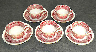 5 Sets Masons Vista Pink, Cups & Saucers, Mint