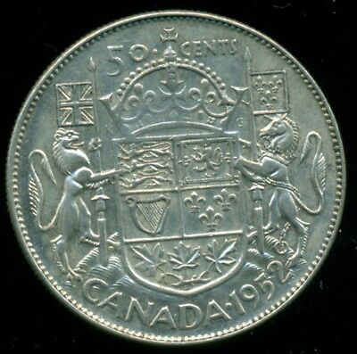1952 Doubled HP Canada King George VI, Silver Fifty Cent Piece  L28