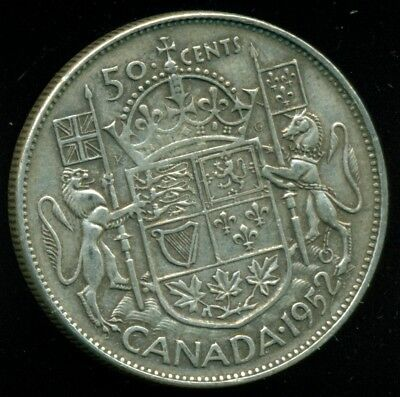 1952 Doubled HP Canada King George VI, Silver Fifty Cent Piece  L26