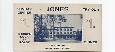 Postcard PC  Croydon PA. JONES HOTEL ADVERTISING TRADE CARD