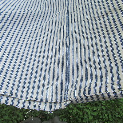 ANTIQUE OLD VTG Indigo BLUE STRIPE Ticking COTTON FABRIC feather Bed Nice COND