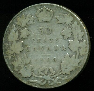 1908 Canada King Edward VII, Silver Fifty Cent Piece PE32
