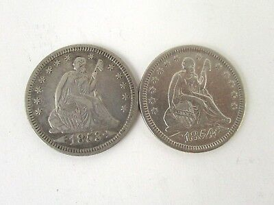 1853 & 1854 U.S. Seated Liberty Silver 25¢ Quarters Very Fine