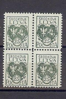 Russia Central Lithuania Litwa 1920 Sc# 2 Arms block 4 MNH