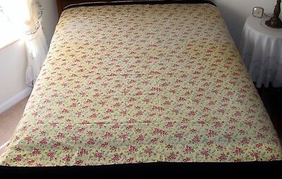"""Vintage Yellow Red Flowers Cotton Fabric Coverlet Quilt Backing Sheet 72"""" x 68"""""""
