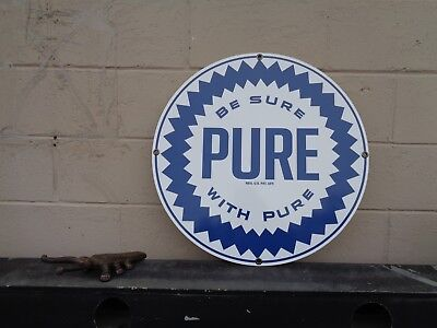 """Pure Oil """"be Sure With Pure"""" 24"""" Ad Sign New Aluminum/dibond Very Colorful"""