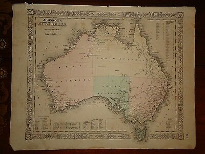 Vintage 1863 AUSTRALIA MAP Old Antique Original Atlas Map 82518
