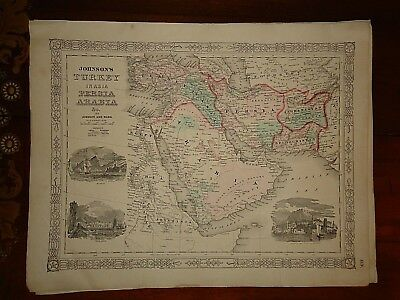 Vintage 1863 HINDOOSTAN - BRITISH INDIA MAP Old Antique Original Atlas Map 82518