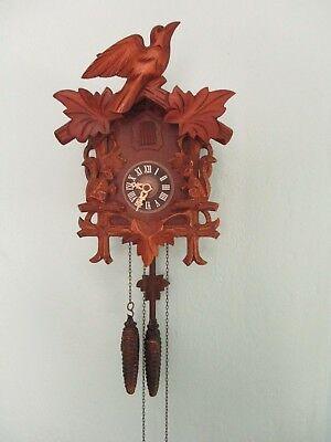 Older Black Forest Cuckoo Clock with Squirells Works Good