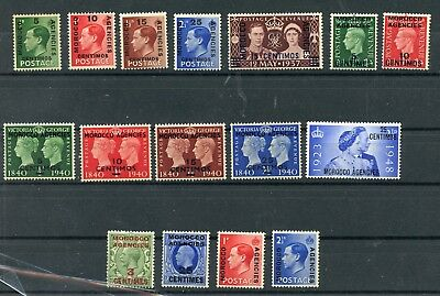 BRITISH OFFICES IN MOROCCO--Lot of 16 different stamps