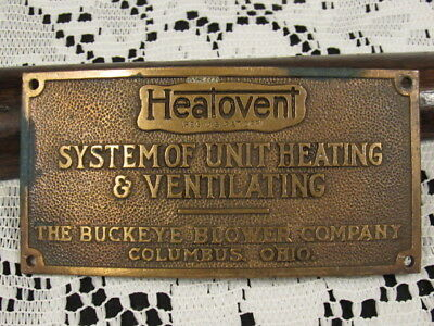 Vintage Industrial BUCKEYE Heatovent OHIO Brass Emblem Sign, Advertising Buckle