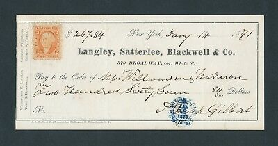 R15c on 1871 Check from Langley, Satterlee, Blackwell & Co. NY