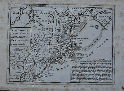 c1729, New England, New York, New Jersey and Pensilvania, Herman Moll Post Map