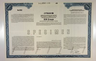 France. BSN Groupe, 1989 Odd ADS Specimen Stock Certificate, XF condition, ABNC